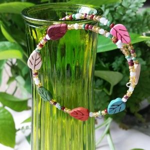 Autumn leaves memory wire bracelet